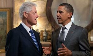 Presidents Bill Clinton and Barack Obama
