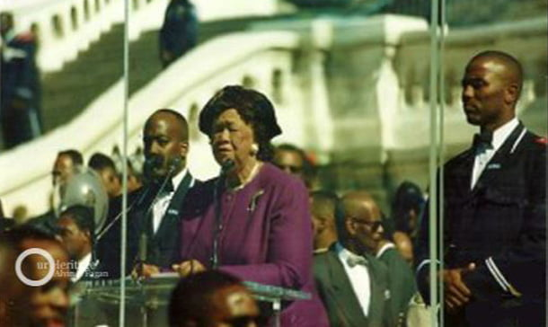 Dr. Dorothy I. Height giving a speech