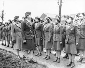 Maj. Charity Adams Inspecting the Troops of 6888th Postal Directory Battlion